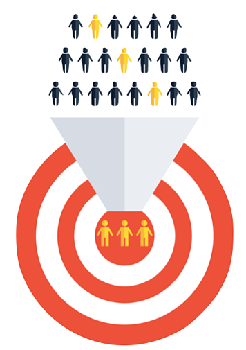 Business development funnel people funneling into the middle of target