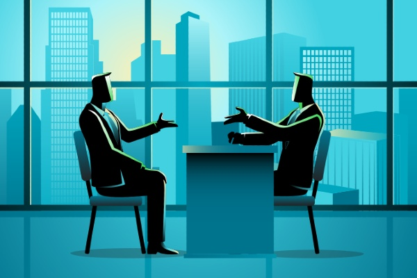 cartoon graphic of two men negotiating with a desk between them