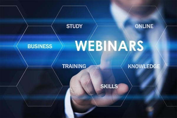 man with option to select subjects and he is pointing and selecting Webinars