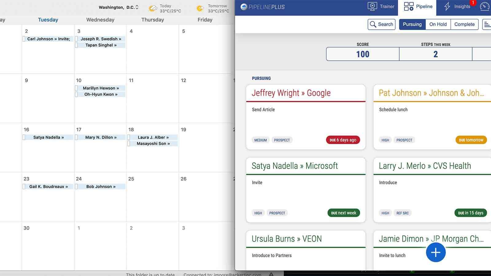 PipelinePlus target dashboard side-by-side with an Outlook calendar matching due dates