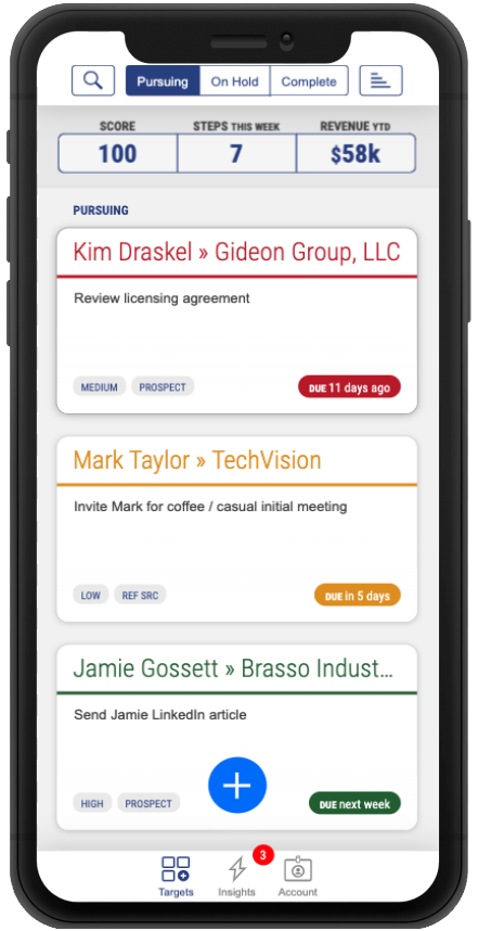 mobile phone showing pipeline dashboard with three focused targets and user score steps revenue