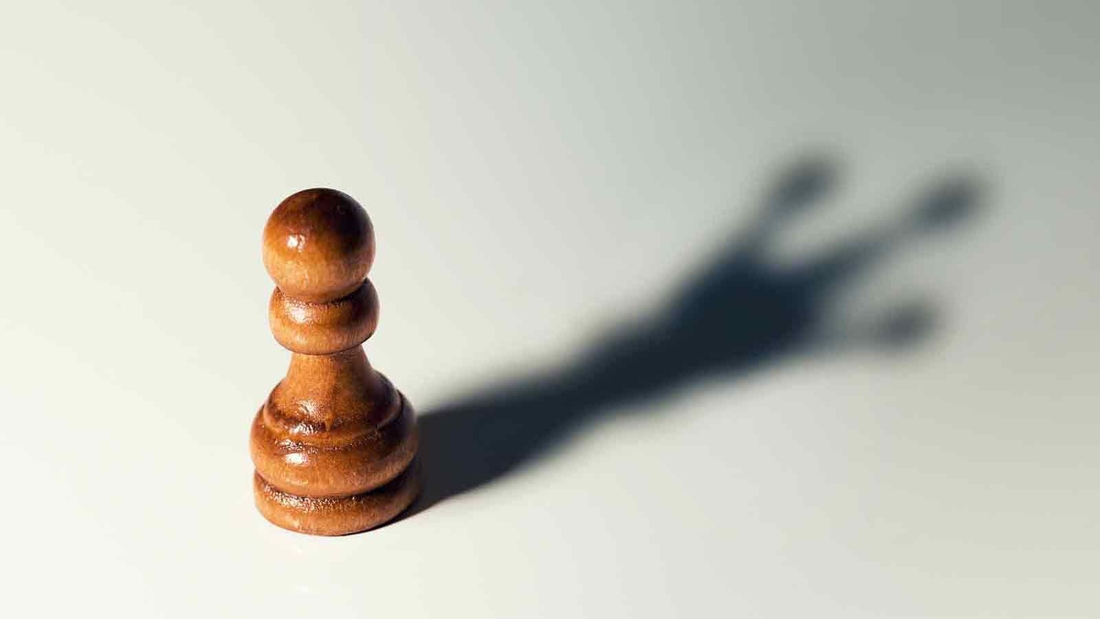chess pawn piece but its shadow looks like a king piece