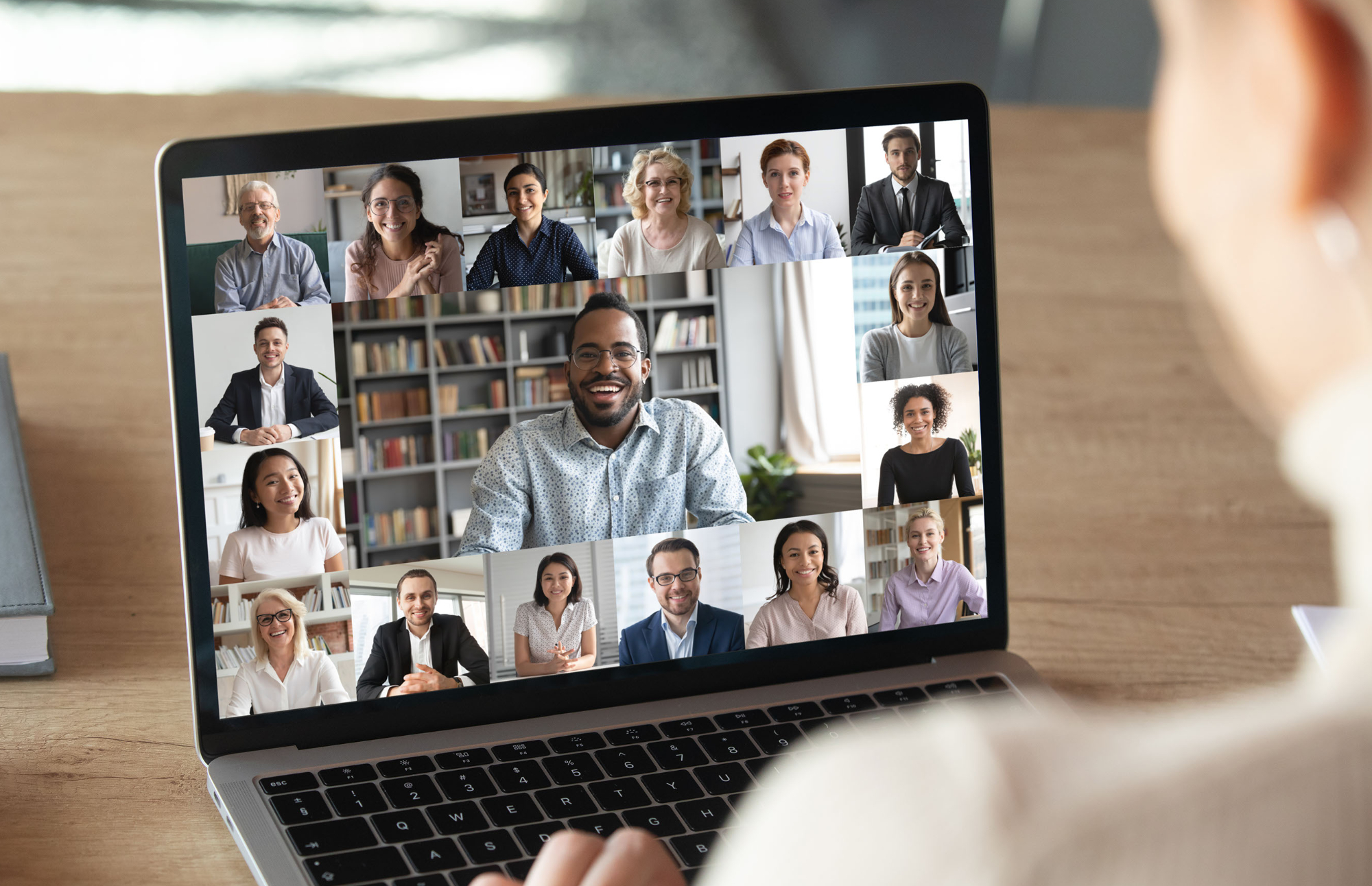 diverse businesspeople on video call learning about leadership development